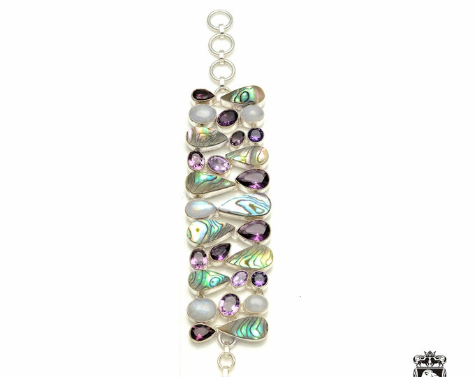 Get this for yourself! Abalone Shell Pearl 925 Sterling Silver + Copper Bonded Bracelet & Worldwide Express Tracked Shipping B3338
