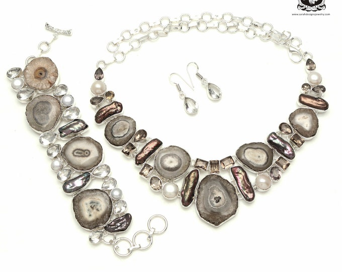 The Real Good Stuff! SMOKEY Quartz STATACTITE 925 Sterling Silver + Copper Bonded Necklace Bracelet & Earrings ALL Included SET520