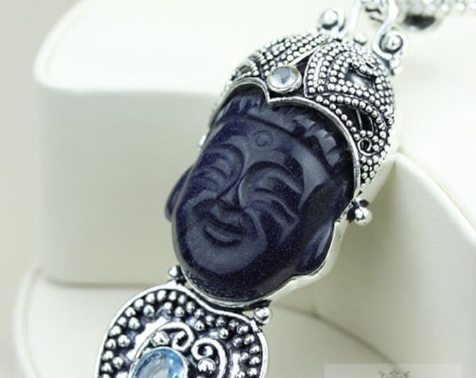 Filigree Work! Kwan Yin Guanyin BUDDHA Goddess Face Moon Face 925 S0LID Sterling Silver Pendant + 4MM Chain & Free Shipping p3727