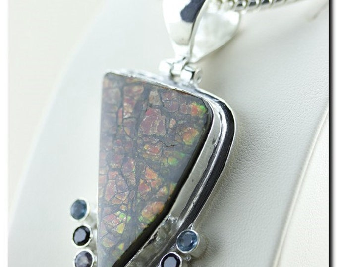 Thick Setting! GENUINE Canadian AMMOLITE 925 Solid Sterling Silver Pendant + 4mm Snake Chain & FREE Worldwide Shipping P1507
