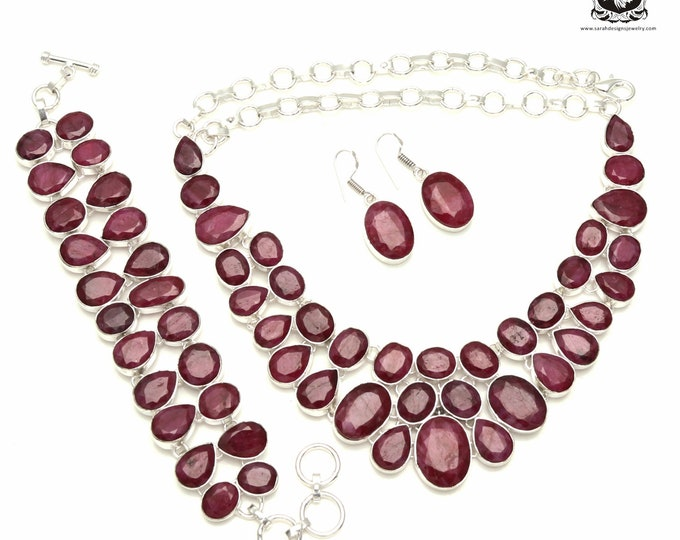 Top Notch! RUBY CORUNDUM 925 Sterling Silver + Copper Bonded Necklace Bracelet & Earrings ALL Included SET545