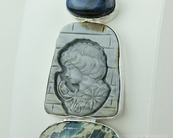 LABRADORITE VARISCITE JASPER Carved Cameo 925 S0LID Sterling Silver Pendant + 4mm Snake Chain & Free Worldwide Express  Shipping mp278