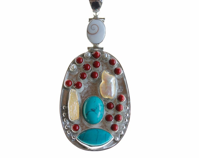 Turquoise and Coral 925 Sterling Silver + BONDED Copper Pendant Chain & Worldwide Shipping p4481