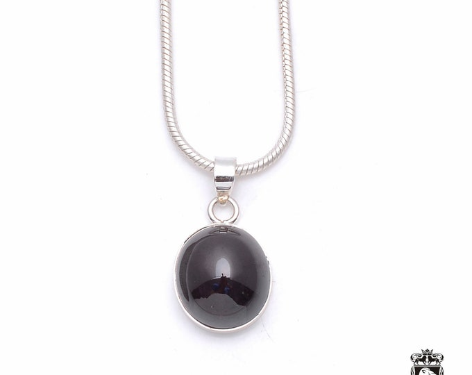 Star Ruby Obsidian Fine 925+ 975 S0LID Sterling Silver Pendant + Snake Chain P6369