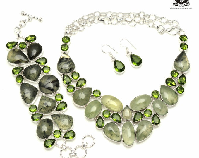 Attention-Grabber! South African PREHNITE Peridot 925 Sterling Silver + Copper Bonded Necklace Bracelet & Earrings ALL Included SET548