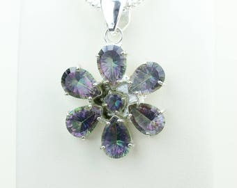 Mystic Topaz 925 S0LID Sterling Silver Pendant + 4MM Snake Chain & Worldwide Shipping p4035