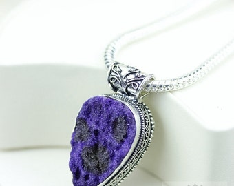 Druzy Vintage Filigree Setting 925 S0LID Sterling Silver Pendant + 4mm Snake Chain & FREE Shipping p3322