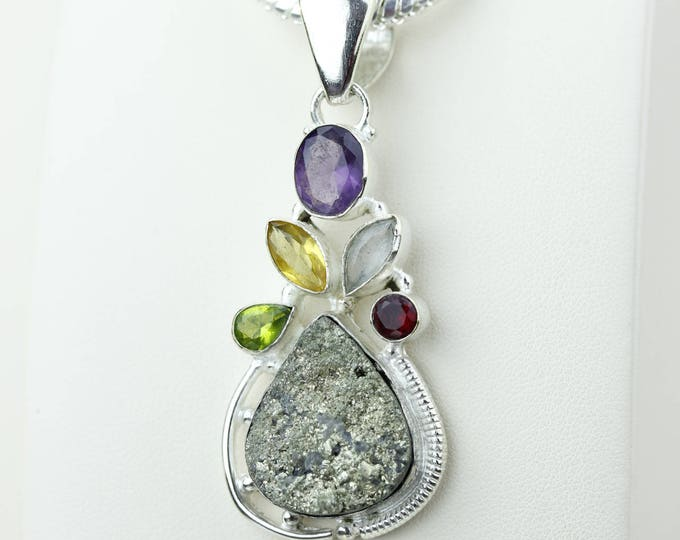 Rare Pyrite Amethyst Garnet Citrine Peridot Topaz 925 S0LID Sterling Silver Pendant + 4MM Snake Chain P4162