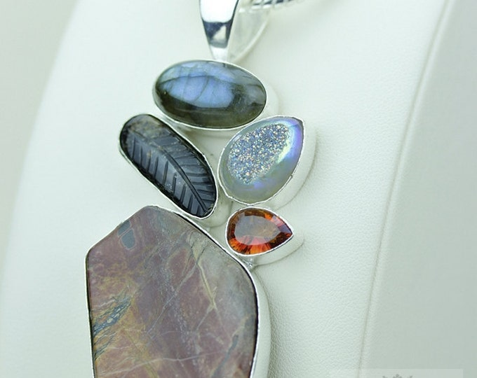 Willow Creek JASPER TOURMALINE LABRADORITE 925 S0LID Sterling Silver Pendant + 4mm Snake Chain & Free Worldwide Express Shipping mp422