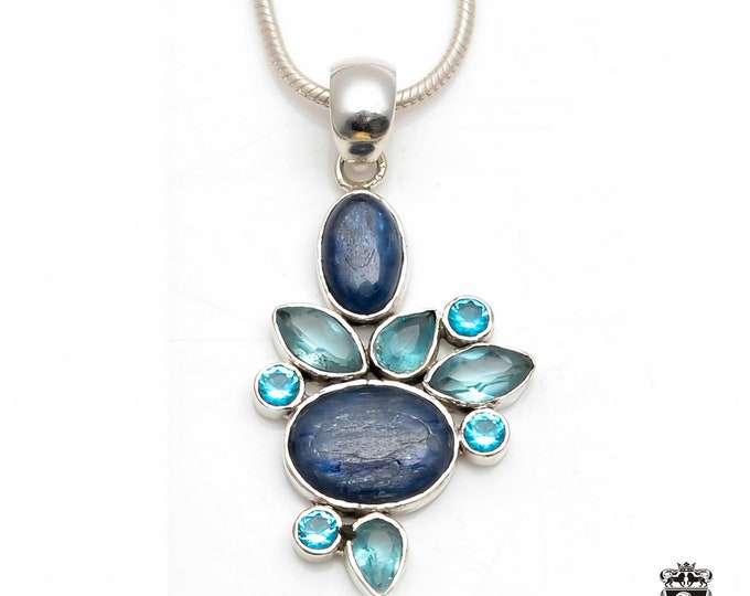 Hot Stuf!! Tanzanian Blue KYANITE Blue Topaz Aquamarine Fine 925+ 975 S0LID Sterling Silver Pendant + Snake Chain P6042