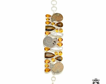 Ammonite Fossil Tiger's Eye Citrine Pearl 925 Sterling Silver + Copper Bonded Bracelet & Worldwide Express Tracked Shipping B3219