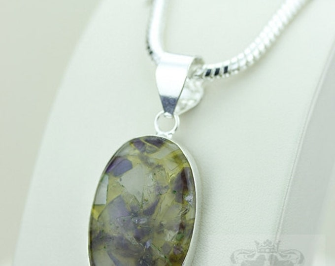 Sugilite in Chrome Tourmaline 925 S0LID Sterling Silver Pendant + 4mm Snake Chain  P2671