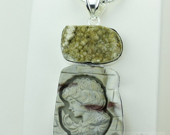 CITRINE DEPOSIT Ocean JASPER  925 S0LID Sterling Silver Pendant + 4mm Snake Chain & Free Worldwide Shipping mp239