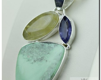 Blue Mystic Topaz Rutile Quartz Turquoise  925 SOLID Sterling Silver Pendant + 4mm Snake Chain & FREE Worldwide Shipping p1353