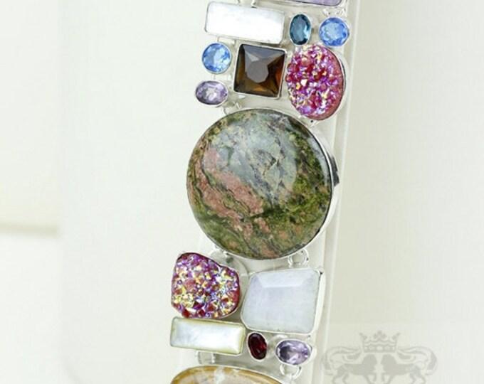 Unakite Pink Drusy Moonstone pearl Mariam Jasper 925 S0LID Sterling Silver Bracelet & FREE Worldwide Express Shipping B1904