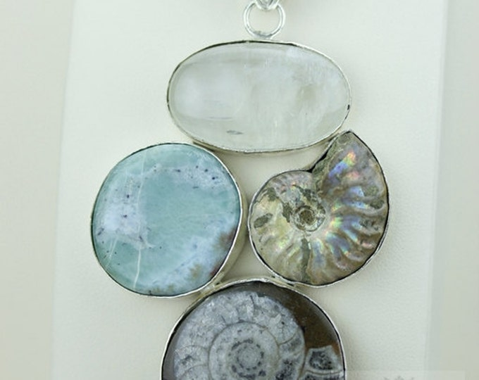 GONIATITE AMMONITE LARIMAR Moonstone Ammonite 925 S0LID Sterling Silver Pendant + 4mm Snake Chain & Free Worldwide Shipping mp303