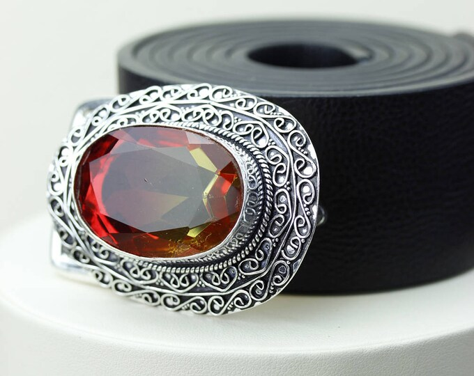 93 Carats Oval Shaped TOURMALINE QUARTZ Vintage Filigree Antique 925 Fine S0LID Sterling Silver + Copper BELT Buckle T13