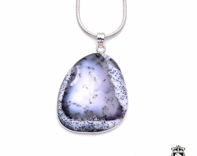Dendritic Agate Fine 925+ 975 S0LID Sterling Silver Pendant + Snake Chain P6294