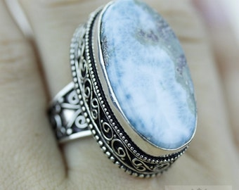 SIZE 7.5 Caribbean Larimar 925 S0LID (Nickel Free) Sterling Silver Vintage Setting Ring  r1759