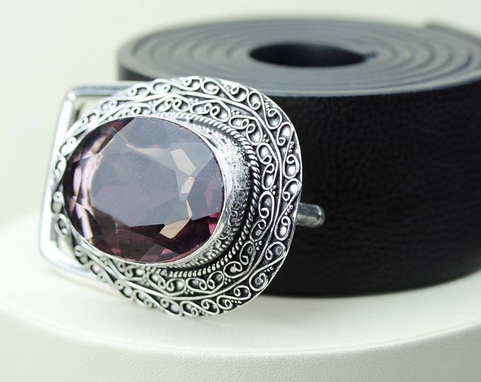 78 Carats LAB-CREATED ALEXANDRITE (from Colorless Quartz) Vintage Filigree Antique 925 Fine S0LID Sterling Silver + Copper Belt Buckle T26