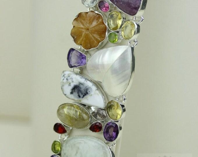 Mabe Blister Biwa Shell AGATE GEODE DENDRITE Opal 925 Solid Sterling Silver Bracelet + Free Worldwide Shipping B1486