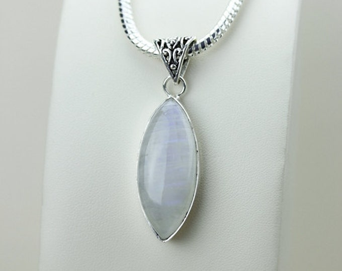 2.43 Inch Rainbow MOONSTONE 925 S0LID Sterling Silver Pendant + 4MM Snake Chain & Express Shipping p3113