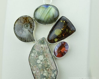 AMMONITE BALTIC Amber LABRADORITE Fossilized Coral Topaz 925 S0LID Sterling Silver Pendant + 4mm Snake Chain & Free Worldwide Shipping mp377