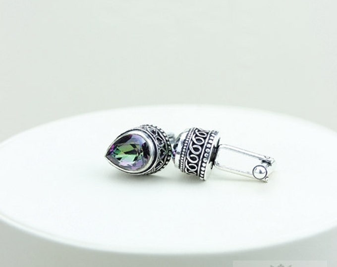 Tear Drop Shaped MYSTIC TOPAZ Vintage Filigree Antique 925 Fine S0LID Sterling Silver Men's / Unisex CUFFLINKS K142