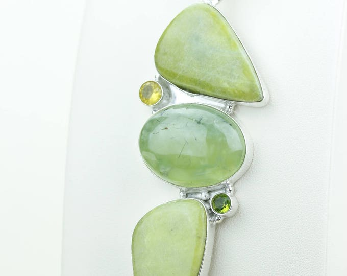 Prehnite 925 S0LID Sterling Silver Pendant + 4MM Snake Chain & Worldwide Shipping p4092