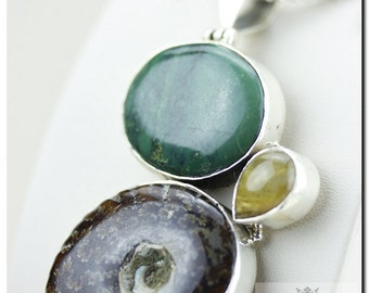 Placenticeras AMMONITE Fossil Tibet Turquoise Rutilated Quartz 925 SOLID Sterling Silver Pendant + 4mm Chain & FREE Worldwide Shipping P6