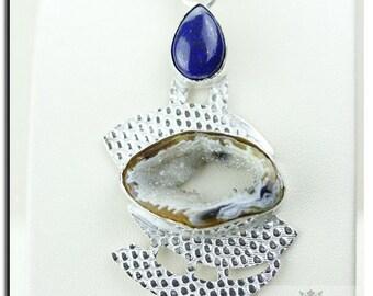 Nepal INSPIRED! GEODE DRUSY Ocean Jasper 925 Solid Sterling Silver Pendant + Free Worldwide Shipping P1923