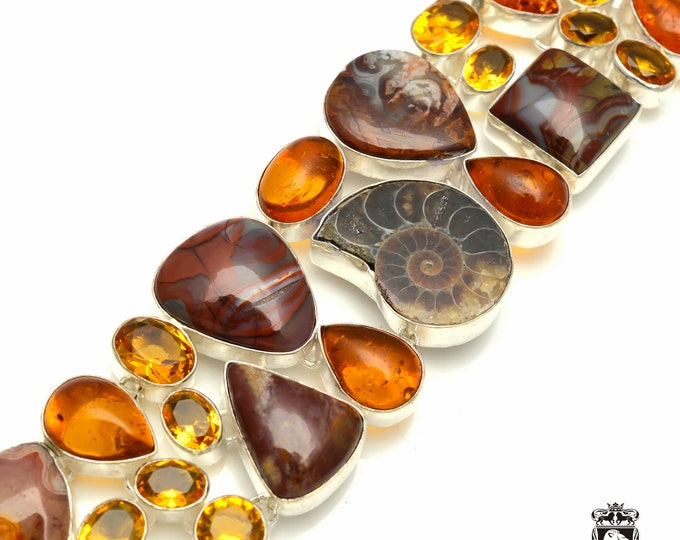 Noreena Jasper Baltic AMBER Ammonite Fossil Citrine 925 Sterling Silver + Copper Bonded Bracelet & Worldwide Express Tracked Shipping B3096