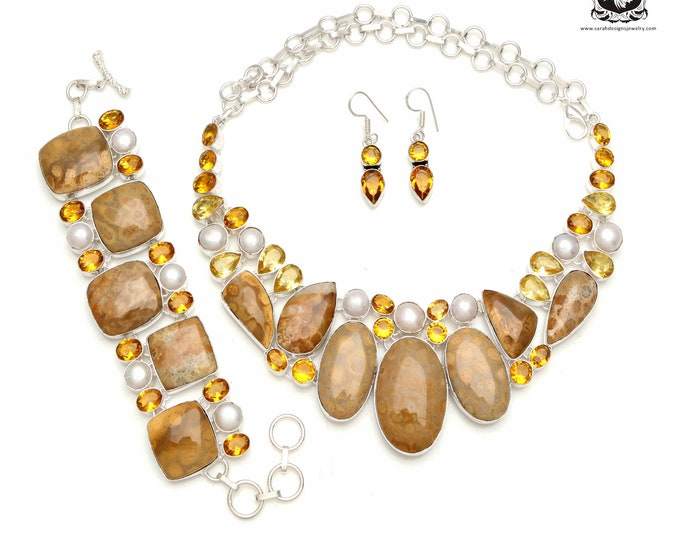 Blast of Yellow! Fossilized Bali Coral Pearl Citrine 925 Sterling Silver + Copper Bonded Necklace Bracelet & Earrings ALL Included SET586