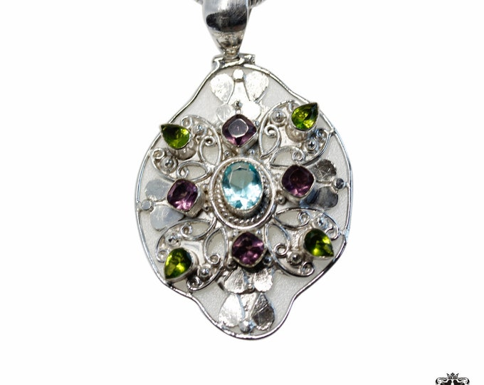 Hammer finished Blue Topaz Amethyst Peridot 925 Sterling Silver + BONDED Copper Pendant Snake Chain & Worldwide Shipping p4853