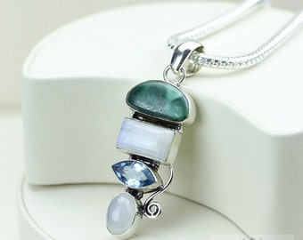 Malachite Blue Topaz Moonstone 925 S0LID Sterling Silver Pendant + 4mm Snake Chain & Free Worldwide Shipping p2945