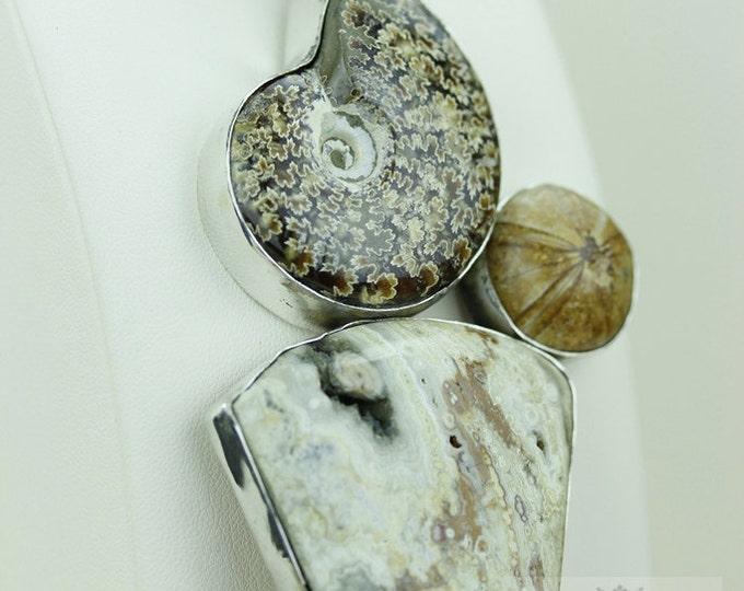 Italy Made! AAA grade Placenticeras AmmoniteFossil Sand Dollar Fossil Ocean Jasper Sterling Silver Pendant MP187