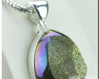 Moonshine Titanium Window Drusy Druzy 925 SOLID Sterling Silver Pendant + 4mm Snake Chain  p1252