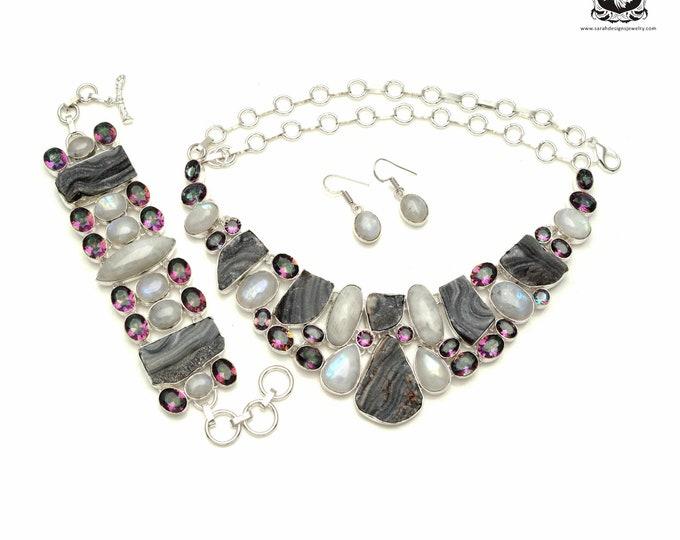Fashionista! DESERT Drusy Mystic Topaz 925 Sterling Silver + Copper Bonded Necklace Bracelet & Earrings ALL Included SET558