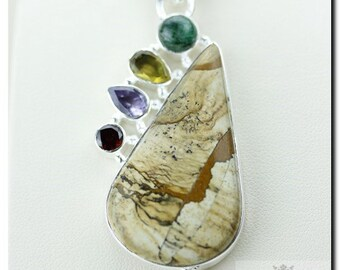 PICTURE JASPER RUBY 925 Solid Sterling Silver Pendant + 4mm Snake Chain & Free Worldwide Shipping P1755