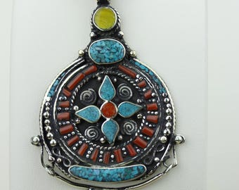 Medium Size Turquoise Coral Native Tribal Ethnic Vintage Nepal Tibetan Jewelry OXIDIZED Silver Pendant + Chain P4257