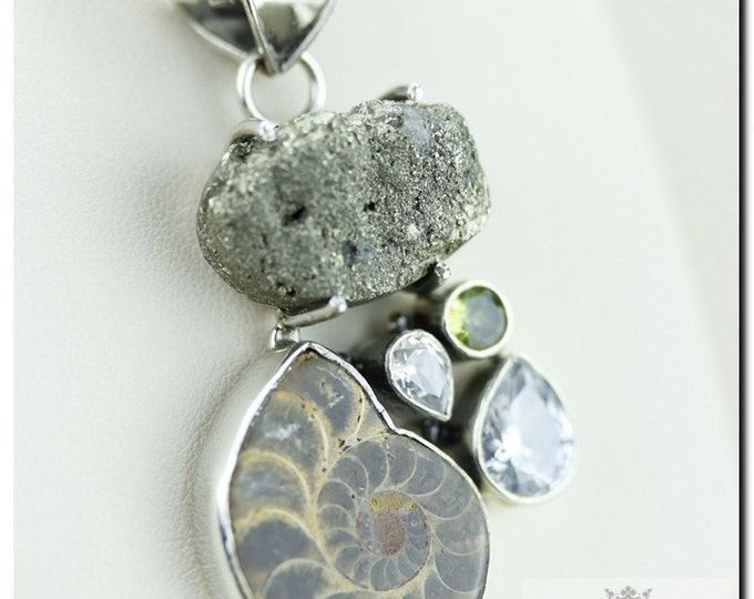 Italian Made Ammonite Fossil Peridot Pyrite 925 SOLID Sterling Silver Pendant & 4mm Snake Chain + FREE Worldwide Shipping