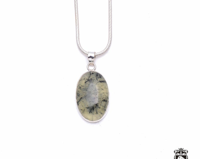 Moss Agate Fine 925+ 975 S0LID Sterling Silver Pendant + Snake Chain P6344