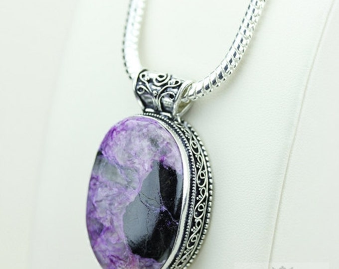 Charoite Vintage Filigree Setting S0LID Sterling Silver Pendant + 4mm Chain  p3341