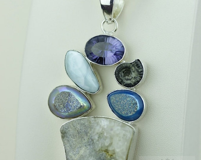 CALCITE DRUSY LARIMAR Mystic Topaz 925 S0LID Sterling Silver Pendant + 4mm Snake Chain & Free Worldwide Shipping mp372