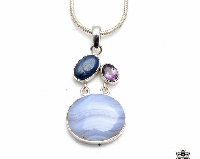 KYANITE Brazilian Amethyst Namibian BLUE Lace AGATE Fine 925+ 975 S0LID Sterling Silver Pendant + Snake Chain P6133
