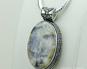 Agate Vintage Filigree Setting 925 S0LID Sterling Silver Pendant + 4mm Snake Chain & FREE Shipping p3370