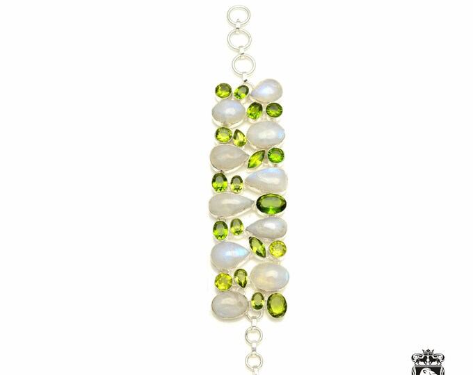 WOW factor! MOONSTONE Peridot 925 Sterling Silver + Copper Bonded Bracelet & Worldwide Express Tracked Shipping B3330