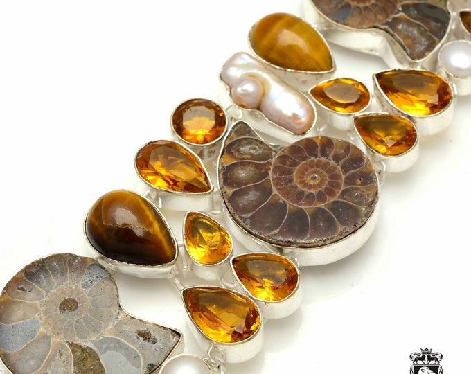 Ammonite Fossil Tigers Eye Citrine Pearl 925 Sterling Silver + Copper Bonded Bracelet & Worldwide Express Tracked Shipping B3257