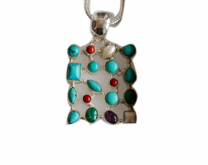 Easy to Match! Turquoise Labradorite Coral Amethyst Moonstone Malachite 925 Sterling Silver+BONDED Copper Pendant Chain & Worldwide Shipping
