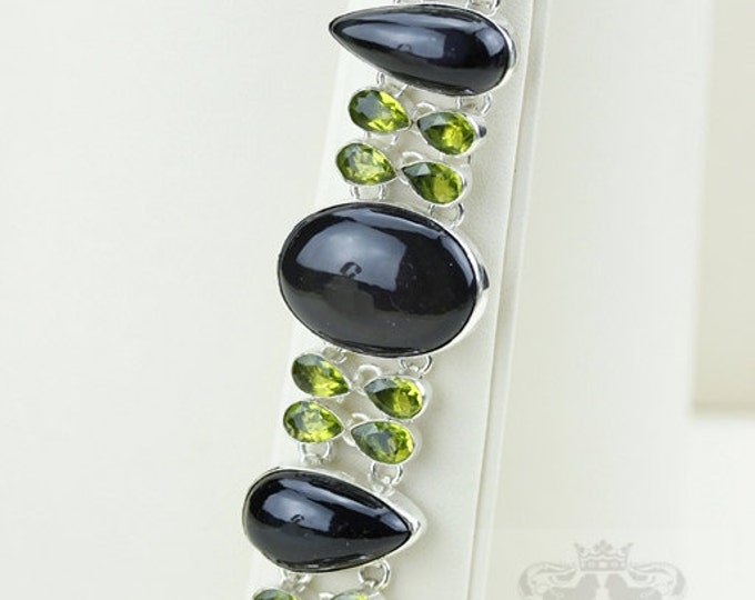 Grab it now! Spinel Cabochon Peridot 925 S0LID Sterling Silver Bracelet & Free Worldwide Express Shipping b1845